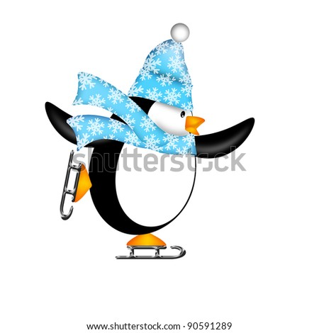 Cute Penguin with Christmas Snowflakes Scarf Ice Skating Illustration Isolated on White Background