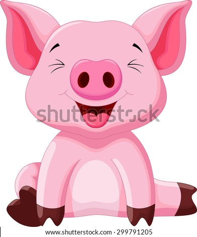 Cute pig cartoon #299791205