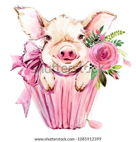 Cute pig watercolor illustration Stock photo ©