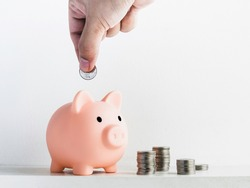 Cute piggy bank, pink color with piles of coins isolated on white background with hand putting coin with copy space. Saving money, Investment and finance concept.