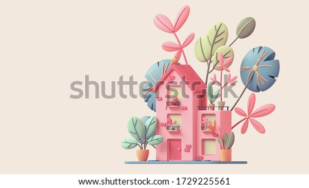 Cute pink cozy Eco House with yellow windows, red door stands on green lawn with colorful leaves. Sweet home with cat on the balcony, bird on roof, potted plants on terrace. 3d render in pastel colors