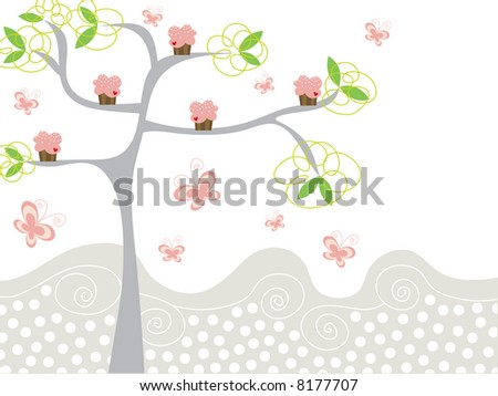 cute pink cupcakes on a tree (raster)