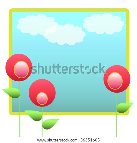 Cute Pink Flowers Template Background  with sky and clouds