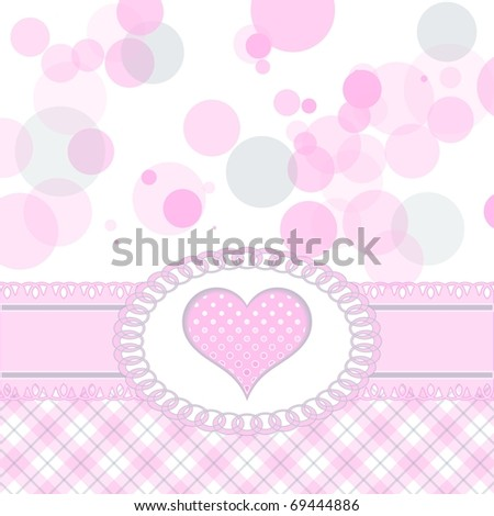Cute pink heart greeting card