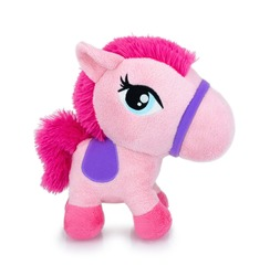 Cute pink horse plushie doll isolated on white background with shadow reflection. Playful bright pink pony on white underlay. Teddy horse plush stuffed puppet on white backdrop. Pinky soft toy.