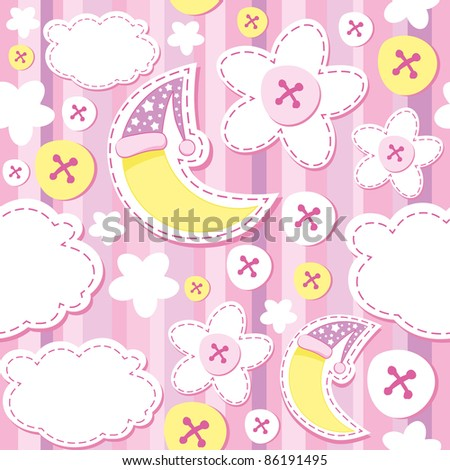 cute pink kid background with moon and cloud