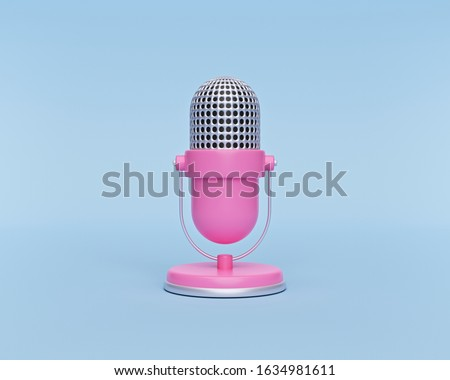 cute pink Retro microphone isolated on pastel blue background. minimal style. 3d rendering