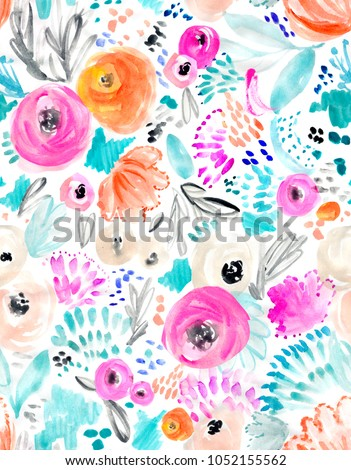 Cute, Pink Watercolor Flowers Background Pattern