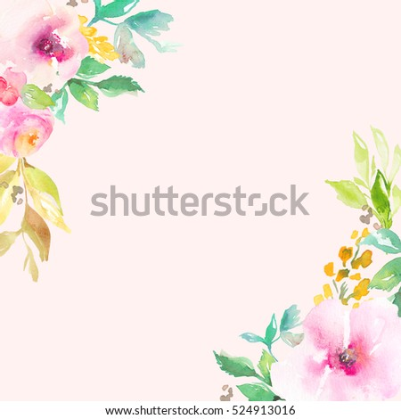 Cute Pink Watercolor Flowers Corner Frame Background 524913016