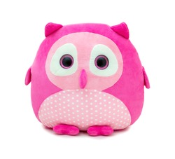 Cute pinky owl doll isolated on white background with shadow reflection. Owl the bird of prey on white backdrop. Playful bright pink plush stuffed puppet bird toy for children.