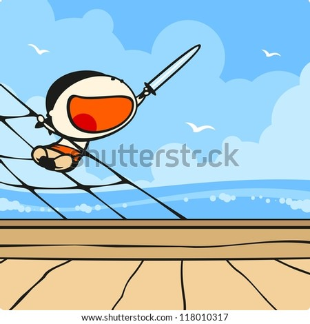 Cute pirate on a ship (raster version) - stock photo