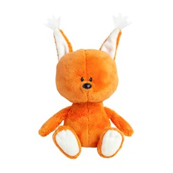 Cute plush orange squirrel isolated on white background. Soft toy for children. Toy forest animal.