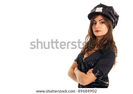 cute police woman posing on a white