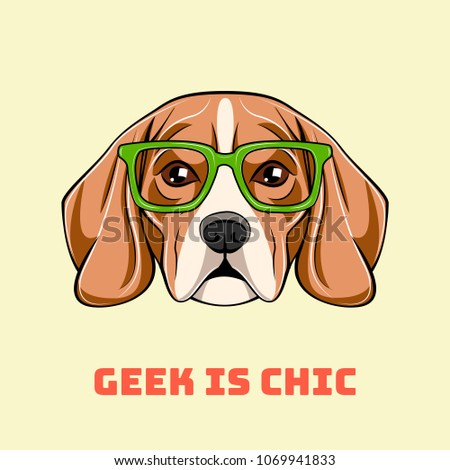 Cute portrait of nerdy beagle dog. Geek is chic.  illustration isolated on white background