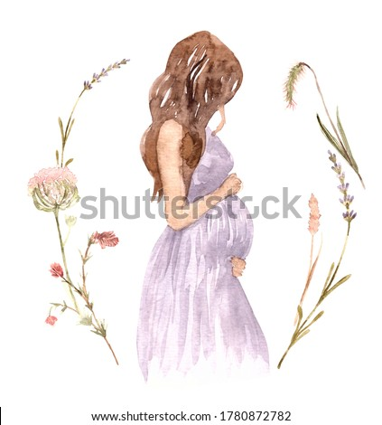 Cute pregnant girl wearing straw hat on a background of wreath wild flowers. The concept of pregnancy, motherhood, family. Watercolor illustration. Happy mum. Pregnant belly side view.