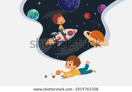Cute preschool boy sit on the floor and play with the toy planets and imagine himself trevel on the rocket. Space, rockers stars, galaxy, and planets in the background. Kids Imagination and explore Stock photo ©