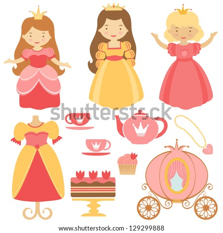 Cute princess party icons collection