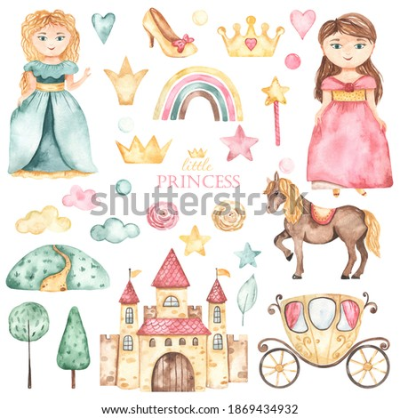Cute princesses, castle, carriage, horse, shoes, crowns, flowers in pink and green. Watercolor hand drawn clipart Stock photo ©