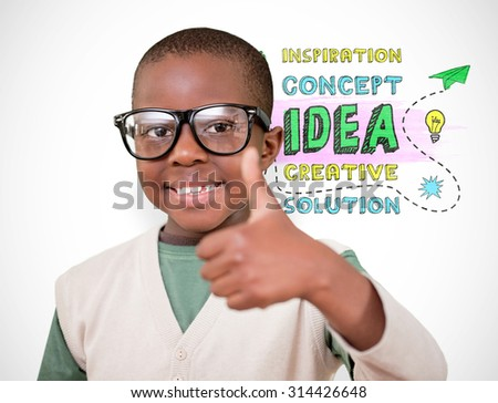 Cute pupil with thumbs up against white background with vignette