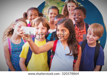 Cute pupils using mobile phone against white background with vignette