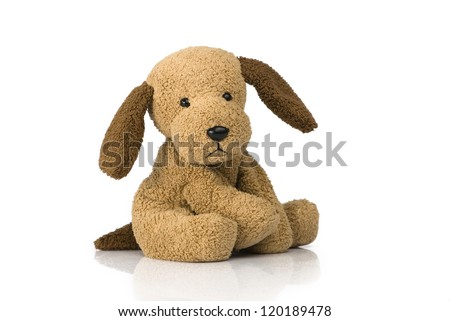 Cute puppy toy shot on white #120189478