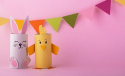 cute rabbit and bird handmade from paper. Orthodox holiday of happy Easter