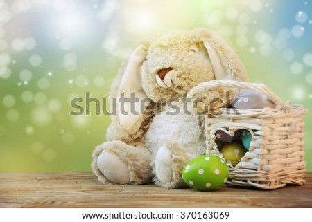 Cute rabbit and easter eggs  #370163069