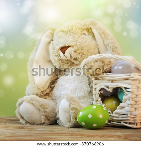 Cute rabbit and easter eggs  #370766906