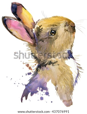 Cute rabbit. Hare. watercolor illustration. Forest animal.