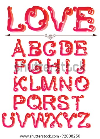 Cute red alphabet, ABC