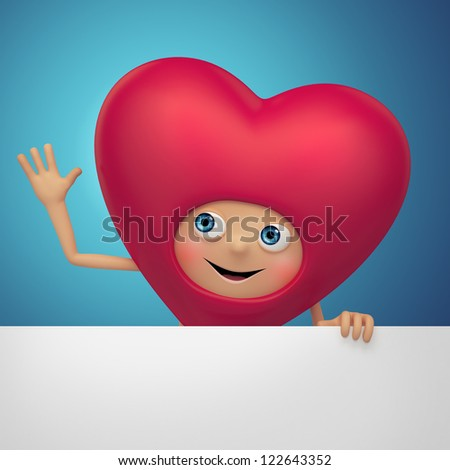 cute red  cartoon character. Valentine heart holding greeting banner