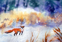 Cute Red Fox in winter forest. Beautiful animal in the nature habitat. Wildlife scene from the wild nature. Red fox running on white snow. Snowy forest. Watercolor painting.