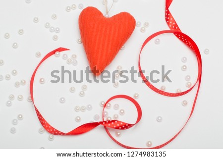 cute red heart on a white background for a greeting card #1274983135