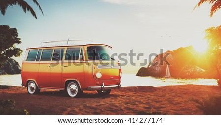 cute retro car on a beach at...