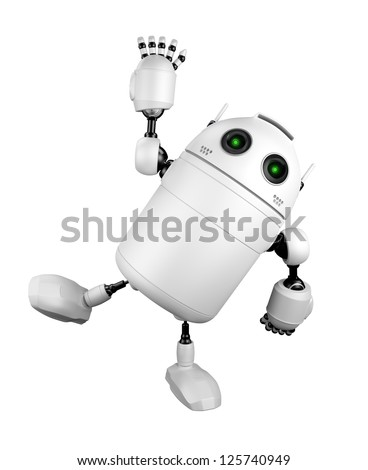 Cute Robot greeting and saying Hi. Isolated on white background