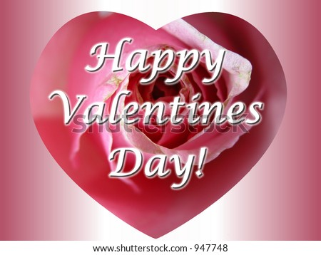 Valentine Message on Pink Rose Heart Message Card Reading Happy Valentines Day 947748 Jpg