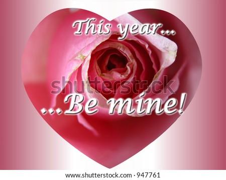 O cartão cor-de-rosa da mensagem do coração da cor-de-rosaromântica cute que lê este ano seja meu