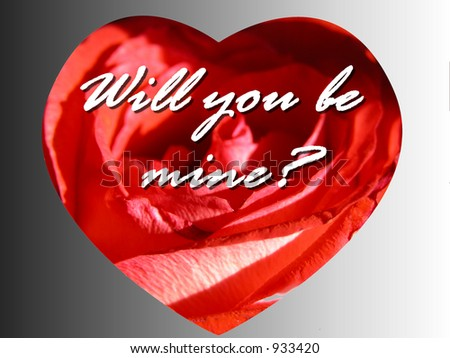 Cute Romantic Rose heart message card reading question will you be mine