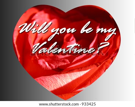 Cute Romantic Rose heart message card reading will you be my valentine