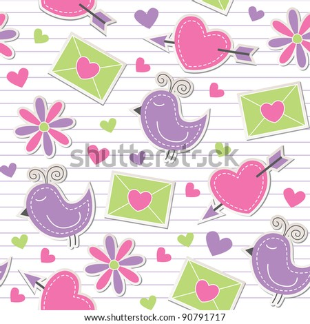 cute romantic seamless pattern with birds, flowers, hearts and envelopes