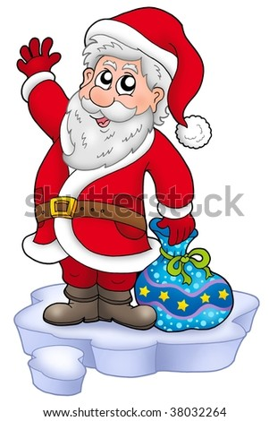 Cute Santa Claus with gifts on snow - color illustration.