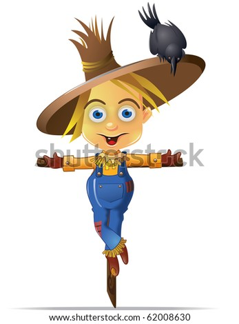 Cute Scarecrow with a Black Crow Character Graphic