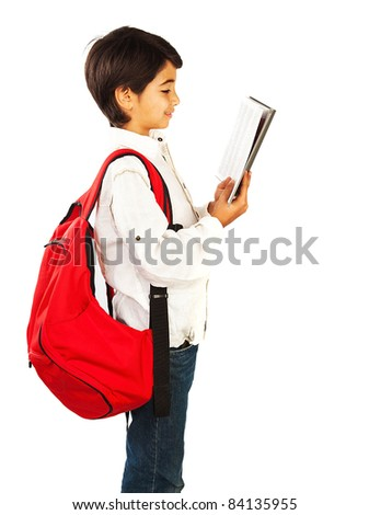 Cute schoolboy reading book, isolated on white background, teenage education concept