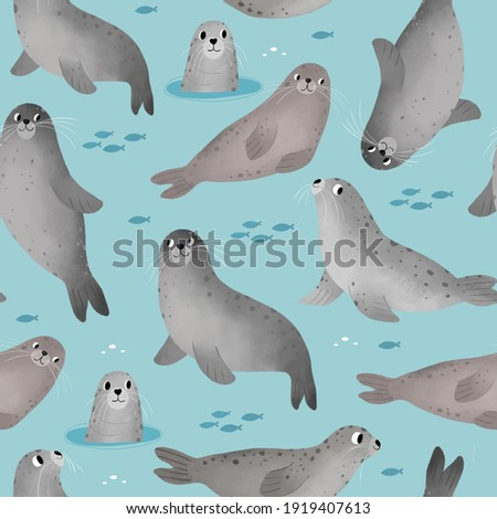 Cute seal cartoon character. Digital illustration for kids. Seamless pattern with ocean seal - seamless pattern