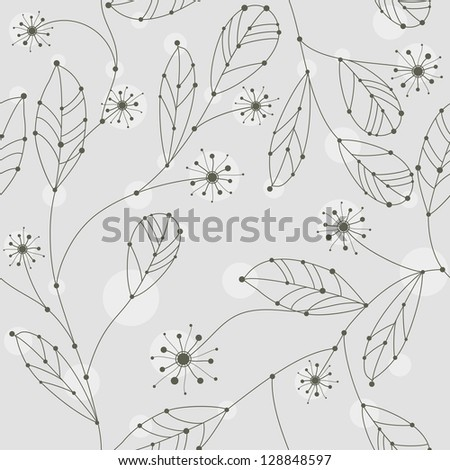 cute seamless branches with leaves and flowers, rasterized vector. You can find also vector file in my portfolio.