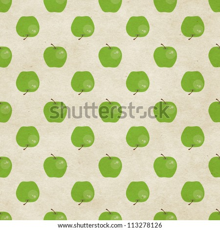 Cute seamless green apple pattern on paper background. Fruity patterns collection