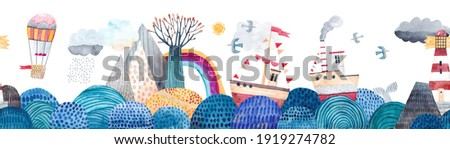 Cute seamless pattern sea landscape, waves, montains, ships, lighthouse, clouds and rainbow, balloon for travel. Watercolor illustration. Children's horizontal poster. Horizontal repeating banner.