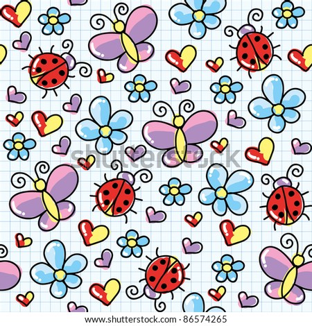 cute seamless pattern with ladybirds and butterflies