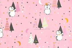 Cute seamless pattern with little penguins, stars, moon and christmas trees on pink background, vector girlish texture