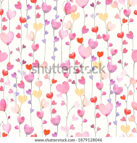 Cute seamless pattern with vertical garland of hearts. Watercolor illustration on ivory background. Colorful print for textile, wrapping paper, wallpapers or cover.